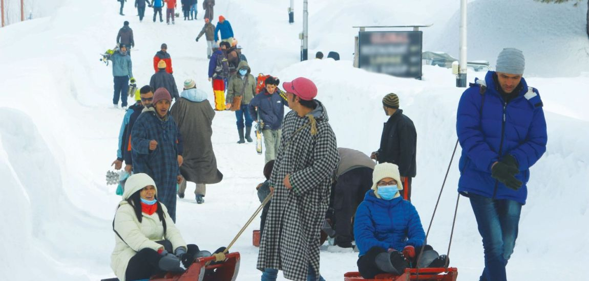 Thanks to a mega dose of snow during past few days, tourists and local sledge-pullers…