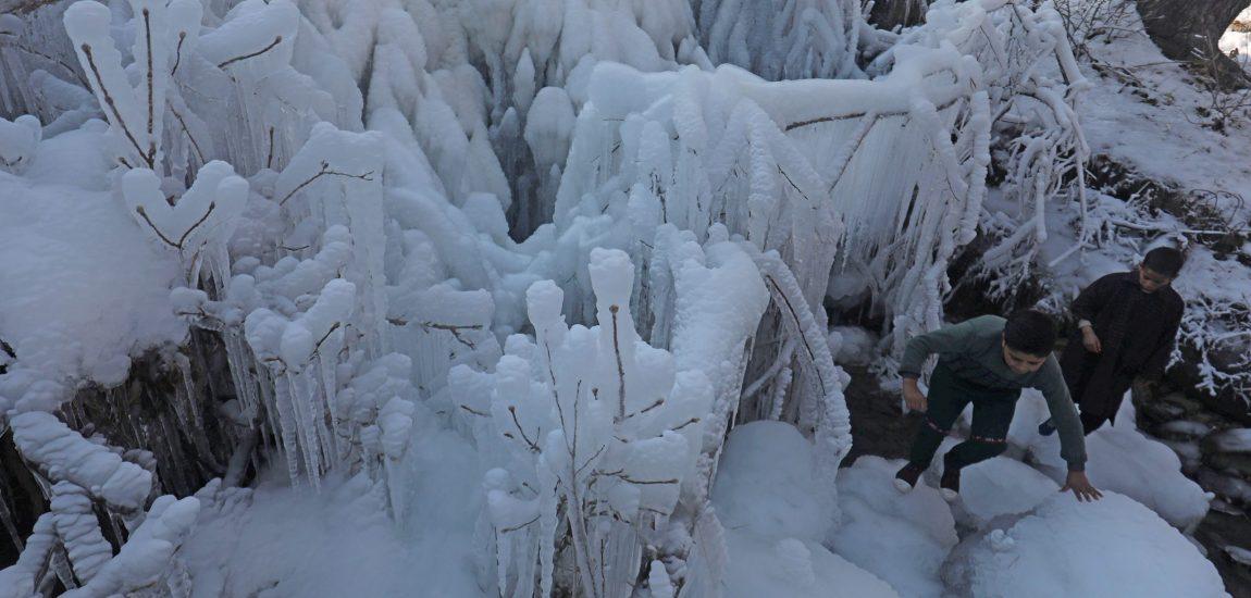 In a Shopian neighbourhood in south Kashmir, kids having fun with frozen…