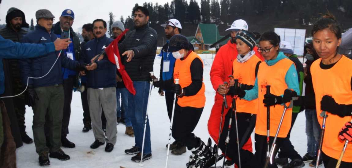 Sprint Event for Sking Mountaineering of women held at Gulmarg