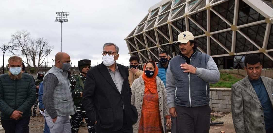 Advisor Khan inspects renovation, upgradation works at Bakshi Stadium, Indoor Stadium