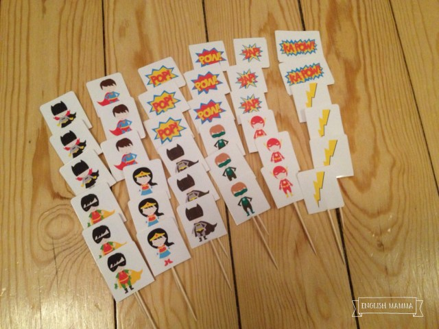 An English Mamma in Stockholm: superhero-themed fourth birthday party cake toppers