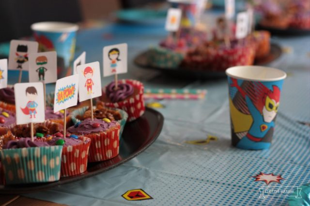 An English Mamma in Stockholm: superhero-themed fourth birthday party cupcakes cake toppers cups