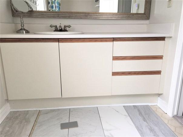 bathroom vanity renovation, old vanity,
