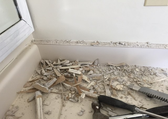 medicine cabinet, drywall mess