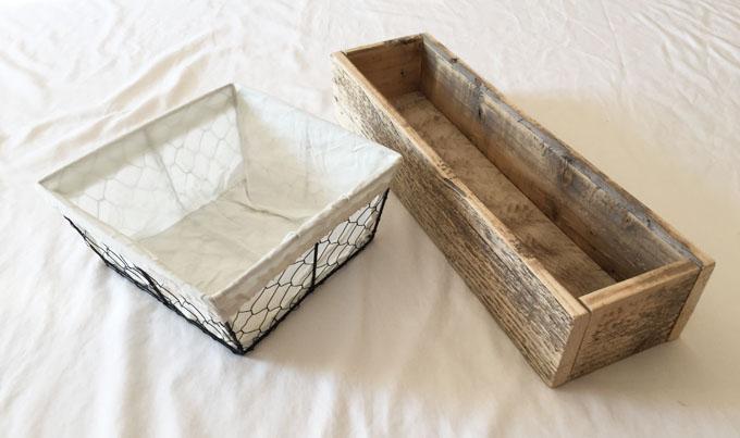chicken wire basket, wooden box, spring centerpiece