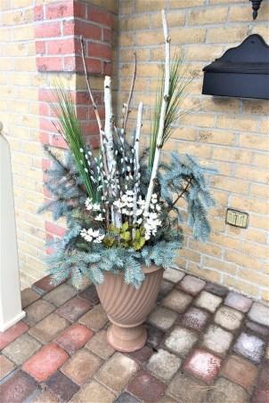 winter planter, winter wreath, winter front porch
