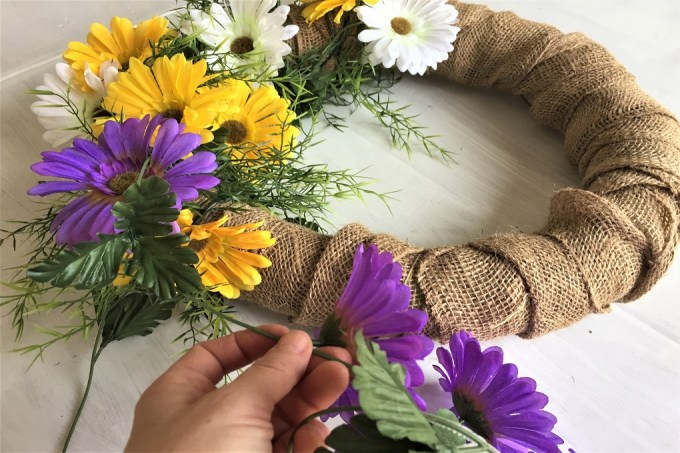 Spring wreath, burlap wreath, dollar store wreath