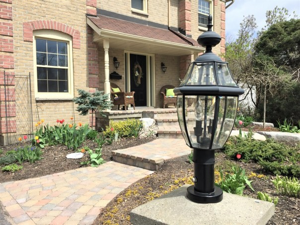 new driveway lantern, painted driveway lantern, spray painted lantern, curb appeal
