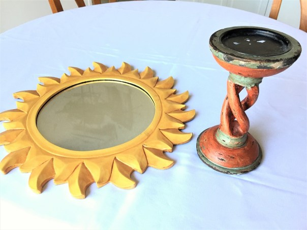 sun mirror, thrift store find, spray paint, spray painted candlestick, spay painted sun mirror