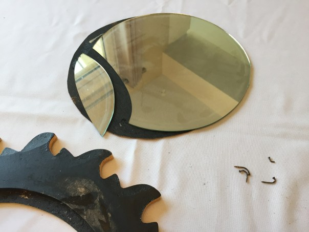 sun mirror, thrift store find, diy mirror, spray paint mirror, broken mirror, diy mishap