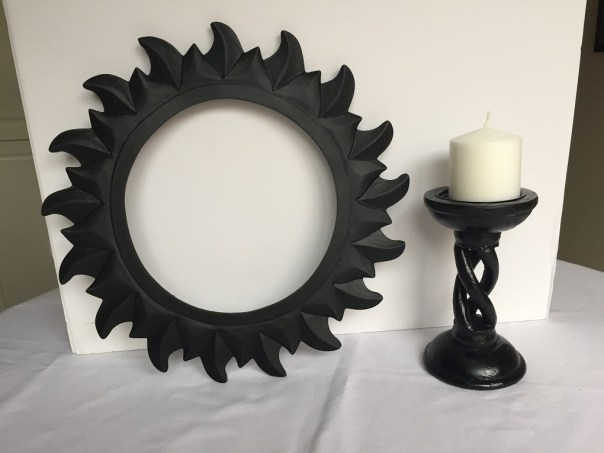 mirror, broken mirror, candlestick, spray painted mirror, spray painted candle stick