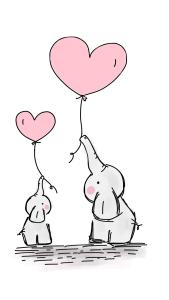 elephants, balloons, love