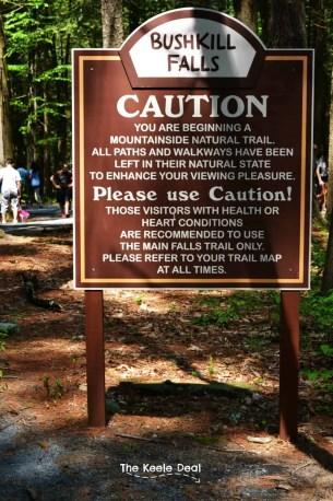 Bushkill falls - Caution