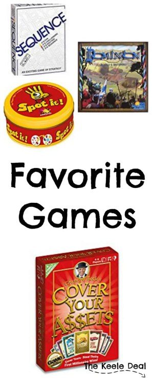 Are you looking for a fun new game to play? We love playing games, many of our nights both at home and on vacation are spent playing games. Here are some of our favorite games in no particular order.