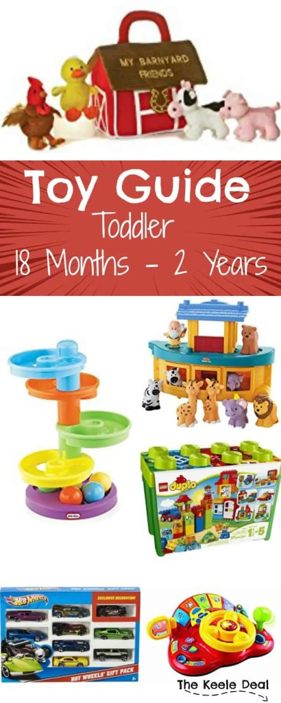 Toy gift ideas for toddlers 18 months - 2 years. My Favorite is #11! Looking for gift ideas for a young toddler? My son is 18 months old and the toys on this list are either toys he loves to play with or toys I think he would love (and might get). Most of these toys work great for both boys and girls! thekeeledeal.com