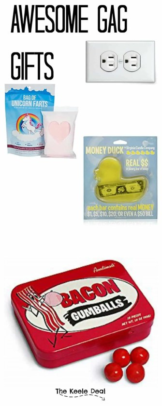 awesome-gag-gifts Gag gifts can be so fun! They can be the perfect gift for a white elephant game and they make for an entertaining stocking stuffers.
