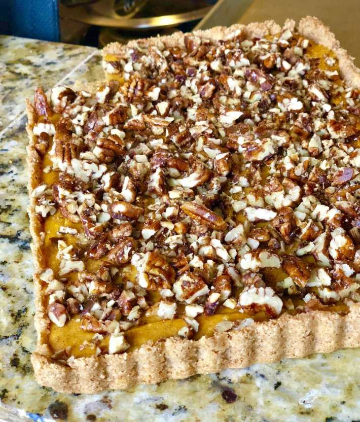 Keto Pumpkin Pecan Tart~Great for your low carb Thanksgiving menu!