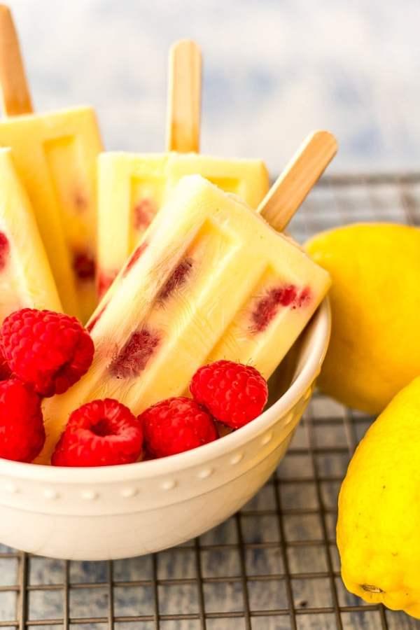 Keto Lemon Cream Raspberry Popsicles
