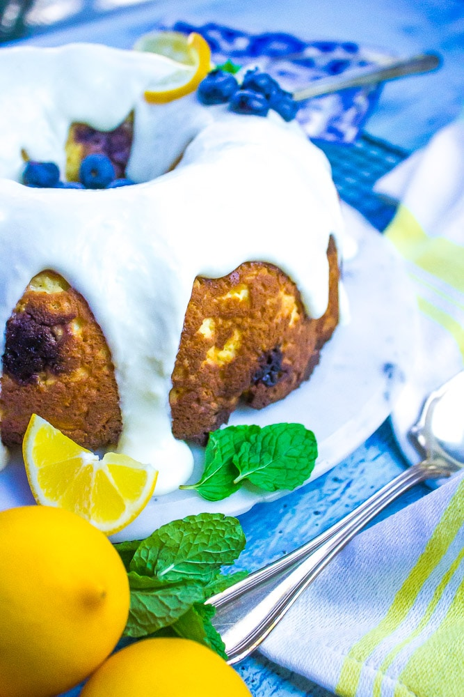 This citrus and berry bundt cake is great for a ladies luncheon or even a slice for breakfast.