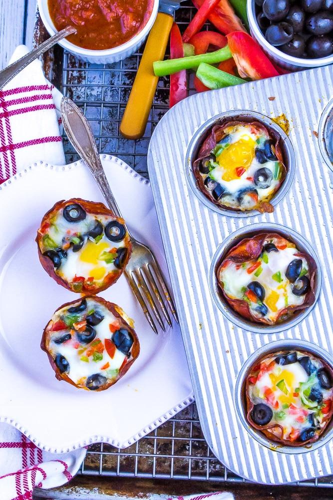 Keto Pepperoni Pizza Egg Cups