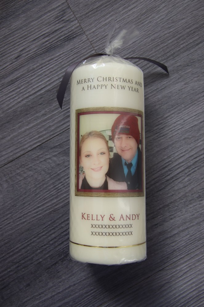 Christmas gift idea personalised candle