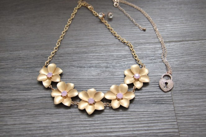 Gold Flower statement necklace and heart shaped necklace with keyhole