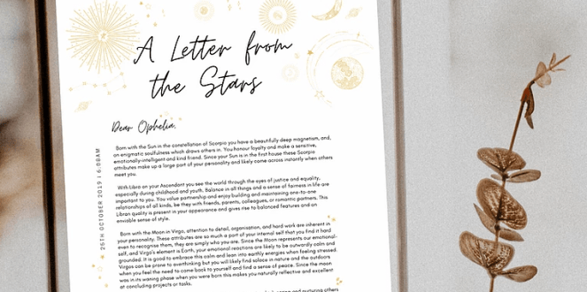 Gift guide option, a letter from the stars in a frame.