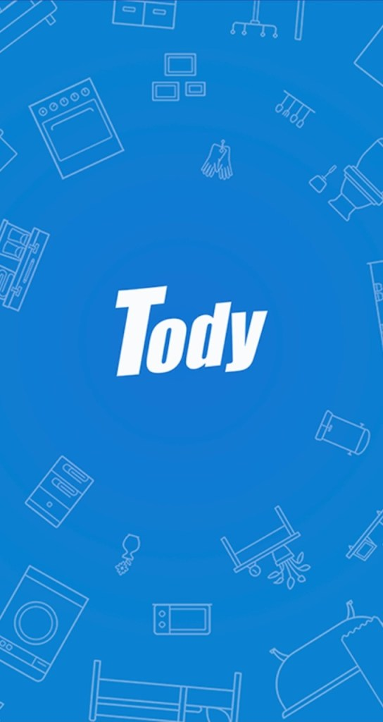 Tody app logo with blue background