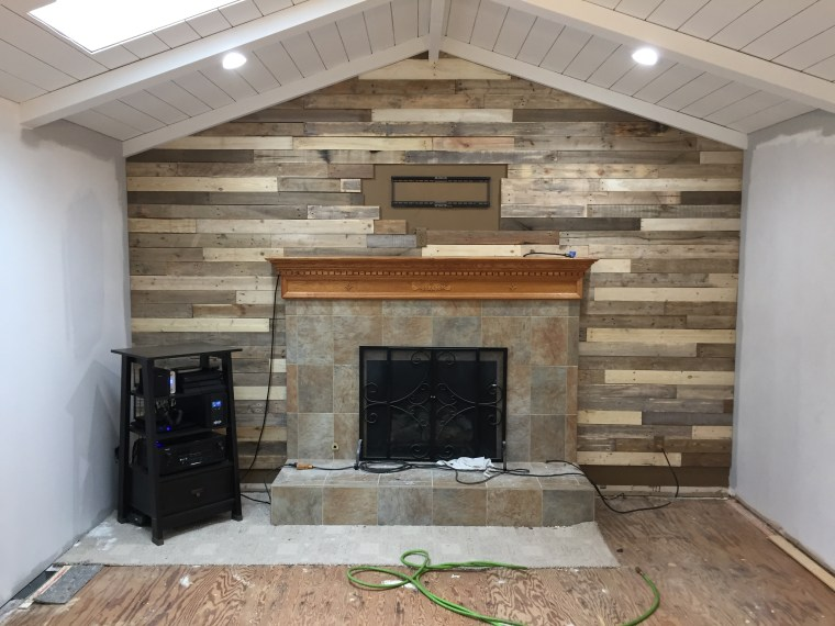how to paint fireplace mantel and tile