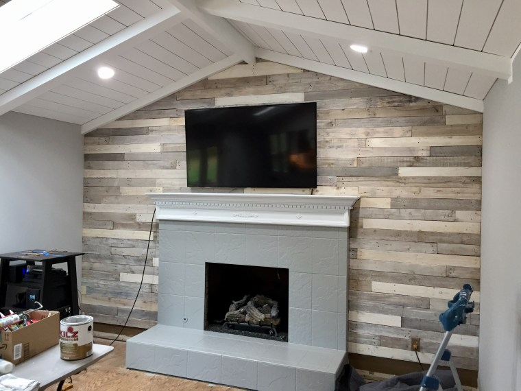 How To Paint Fireplace Mantel And Tile Surround The