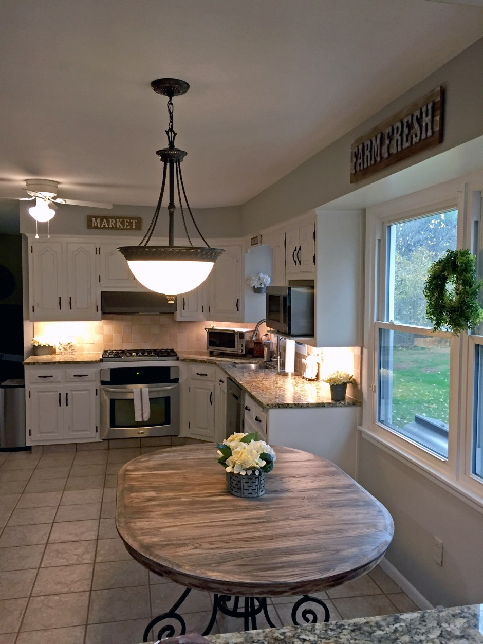 French Country Farmhouse Kitchen, Cottage Kitchen, DIY chalk painted kitchen cabinets, refinish farmhouse kitchen table