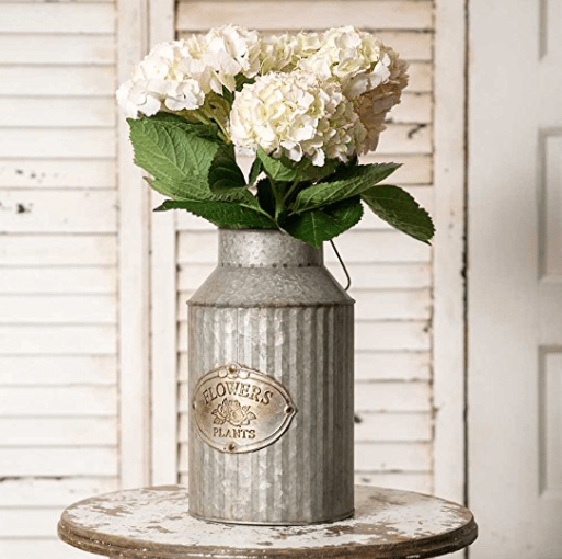 Vintage Industrial Farmhouse Chic Flowers and Plants Can with Handle