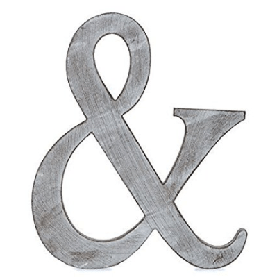 """The Lucky Clover Trading """"&"""" Wood Block Symbol, 14""""L, Charcoal Grey"""