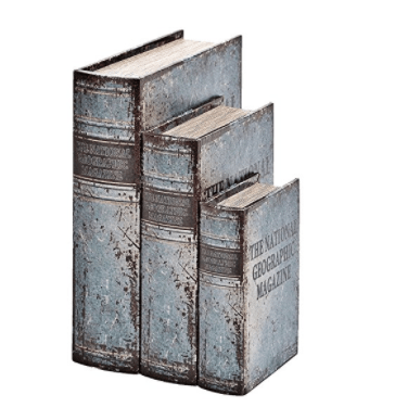 Faux Leather Book Boxes (Set Of 3), Blue Beautifully Designed, Flux book three 13,10, 7 inches (Vintage Blue)