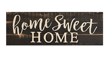 Home Sweet Home Script Design Black Distressed 16 x 6 Inch Solid Pine Wood Plank Wall Plaque Sign