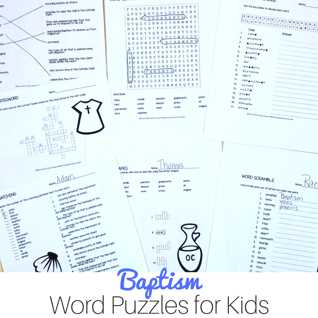 Baptism Word Puzzles For Catholic Kids