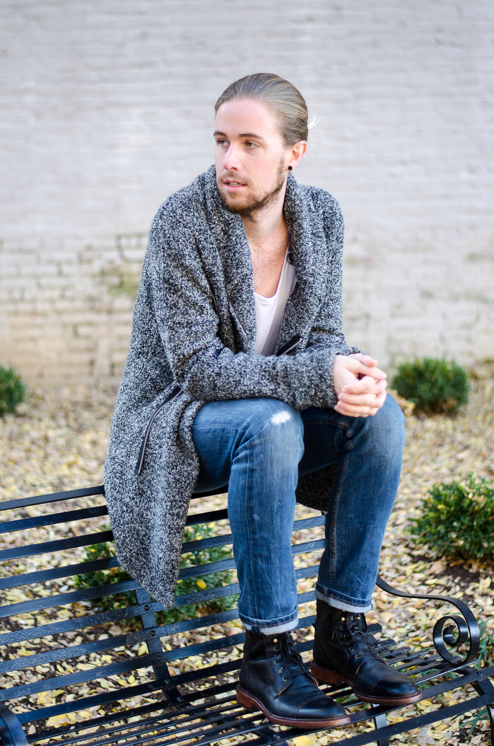 The Kentucky Gent, a Louisville, Kentucky life and style blogger, in H&M Sweater, Colorfast Plaid Shirt, Levi's 511 jeans, Richer Poorer Socks, and Trask Union Boots.