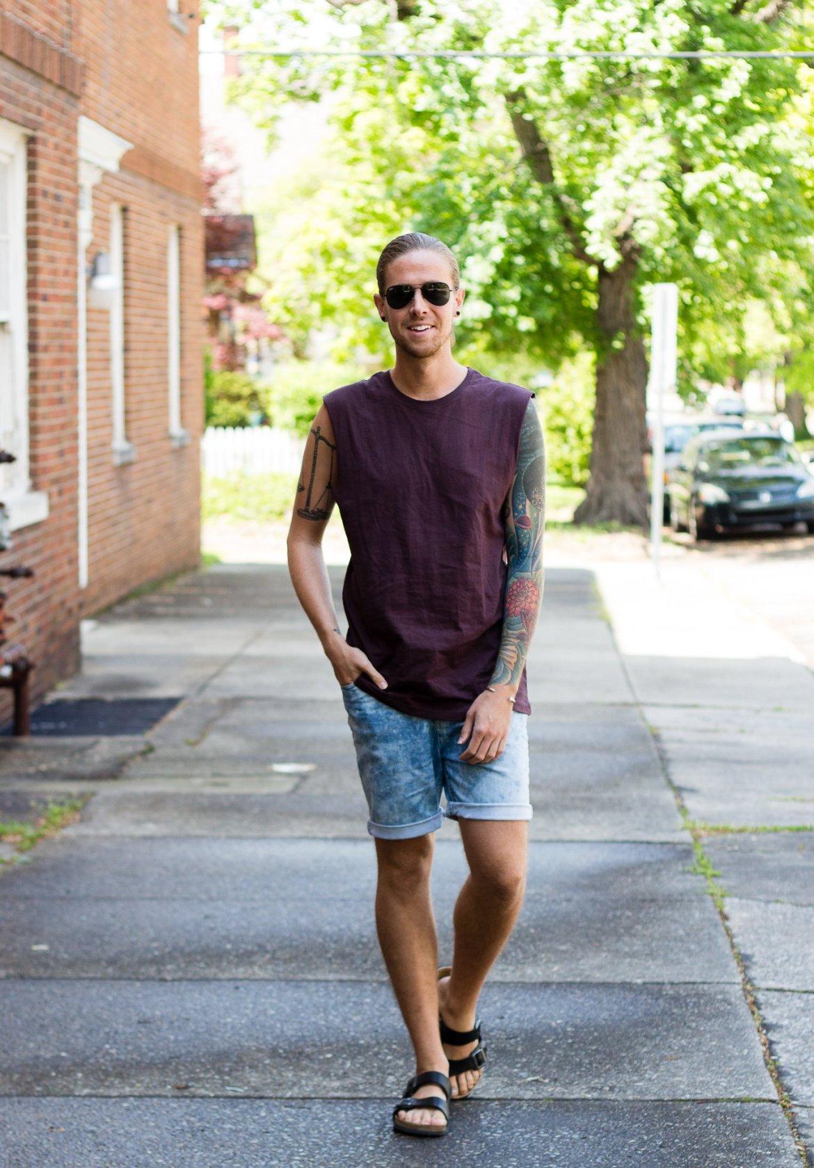 mens fashion, boohoo, denim shorts, mens tank top, birkenstock sandals