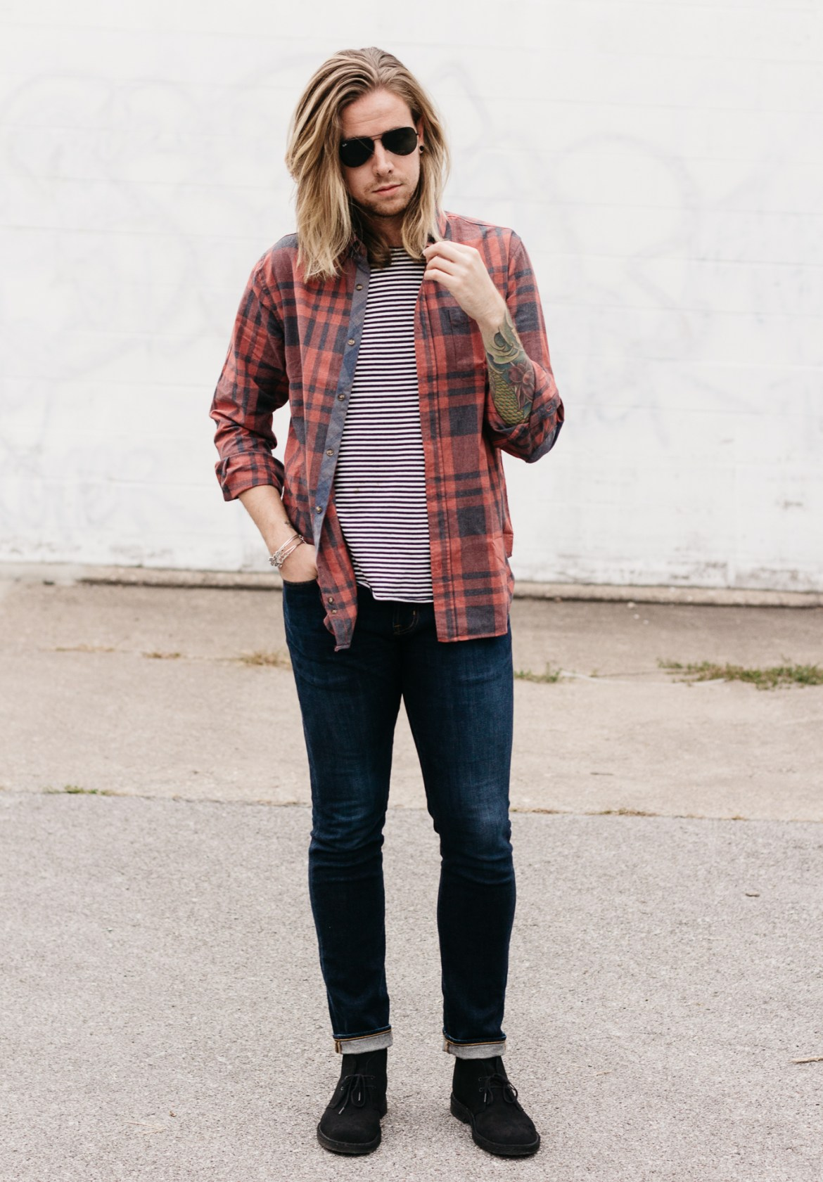 living proof hair care, big star denim, five four clothing company, mens fall fashion, how to wear stripes and plaid