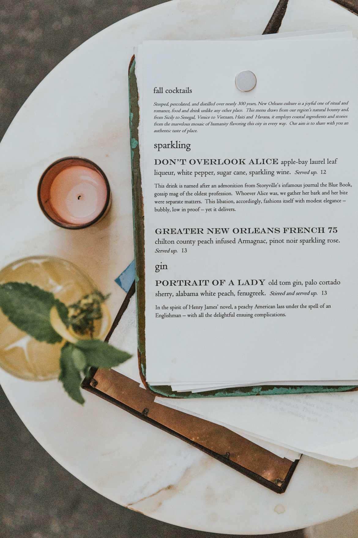 loa bar menu new orleans