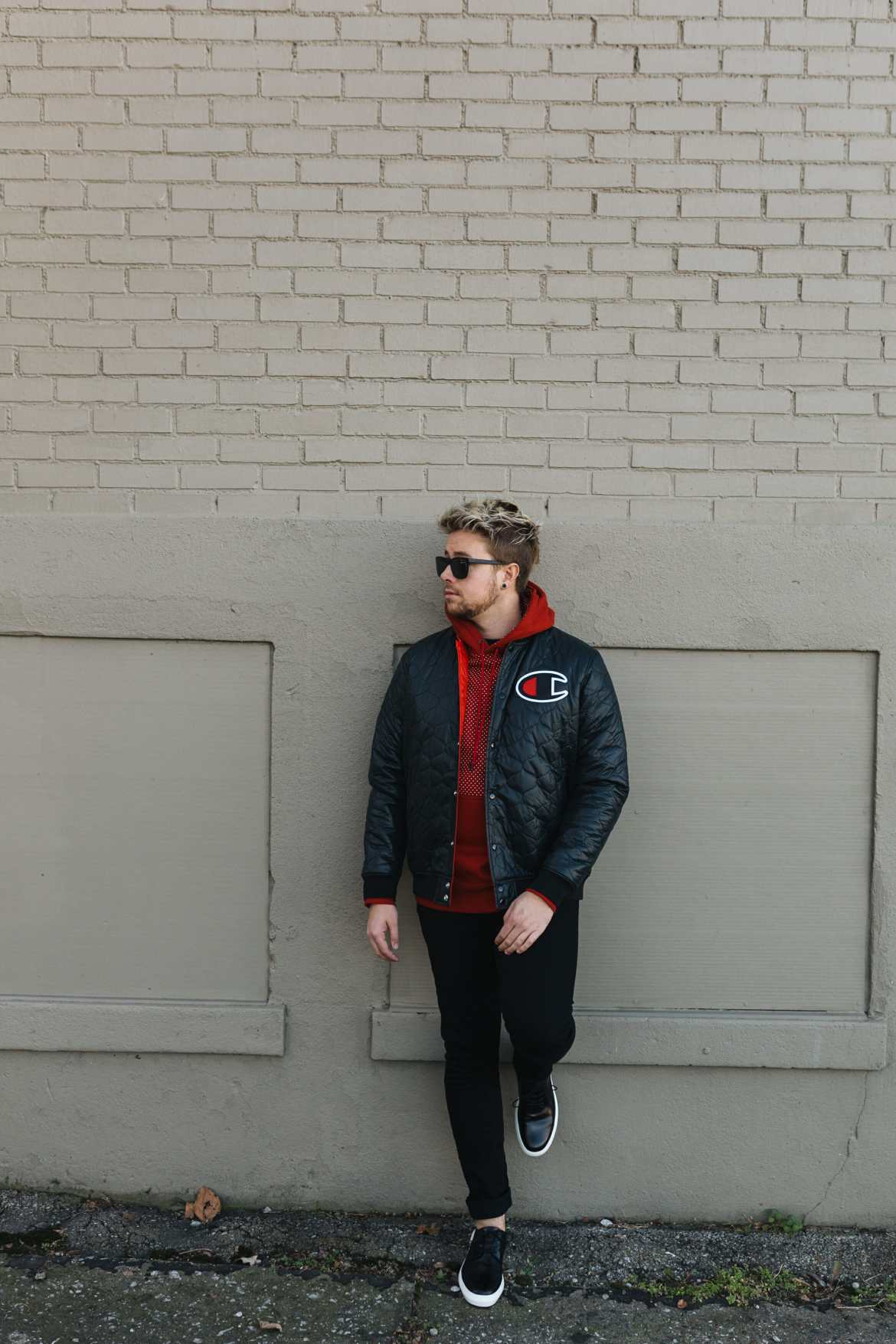 black and red mens outfit