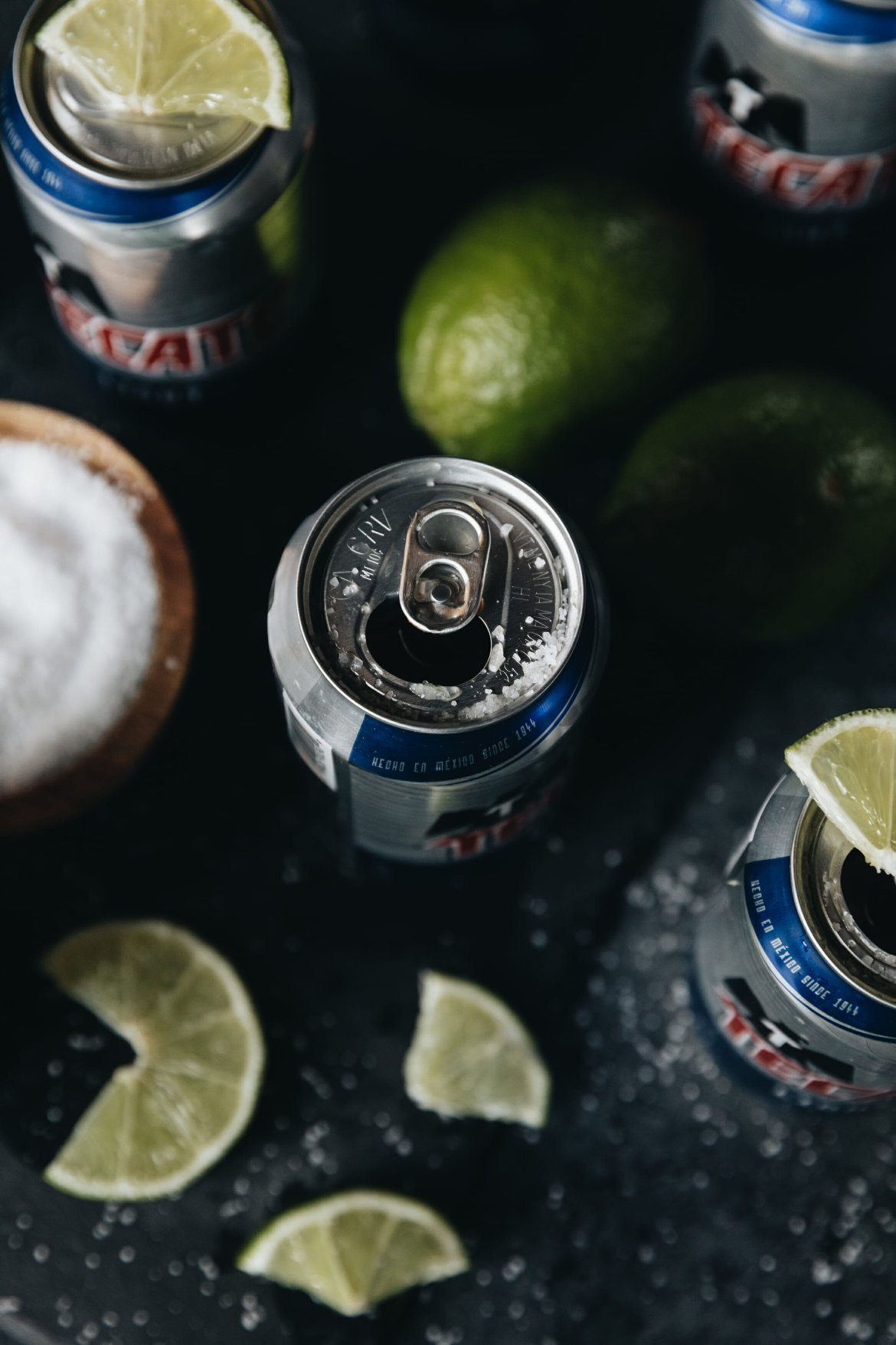 overhead shot of tecate light cans