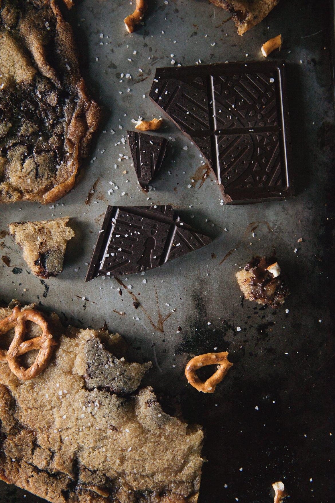 chocolate bar on cookie sheet