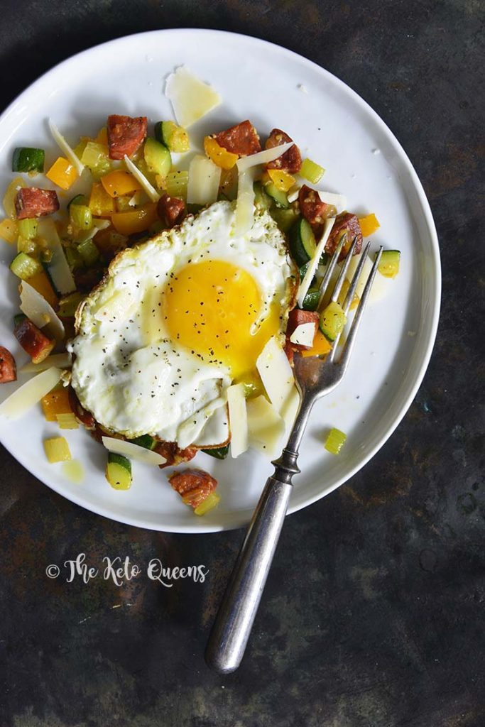 Keto Chorizo Vegetable Hash with Fried Egg