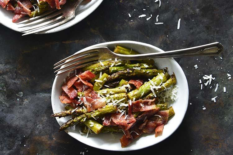 Keto One-Skillet Balsamic-Glazed Sautéed Asparagus with Bacon Horizontal