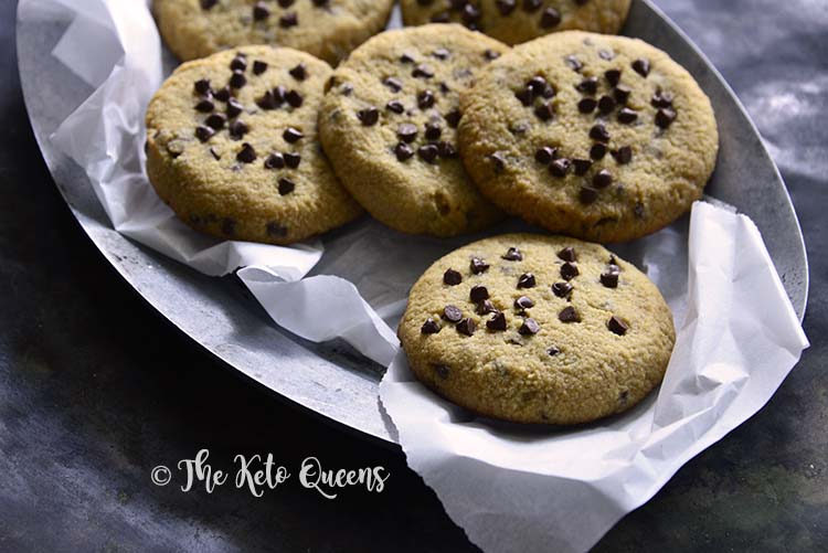 Low Carb Keto Chewy Chocolate Chip Cookies on Metal Plate with Parchment Paper
