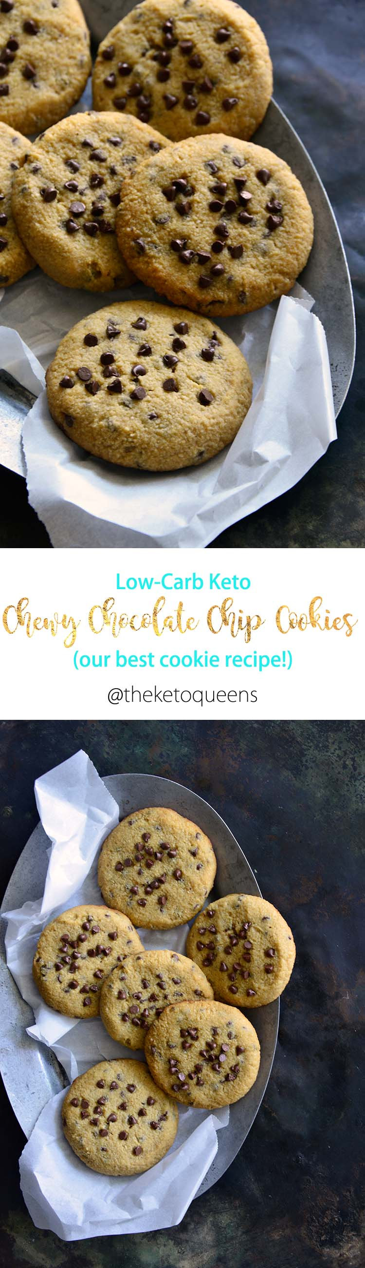 Our Keto Chewy Chocolate Chip Cookies have a chewy texture, buttery, vanilla-scented, notes of brown sugar, and stevia-sweetened chocolate chips.