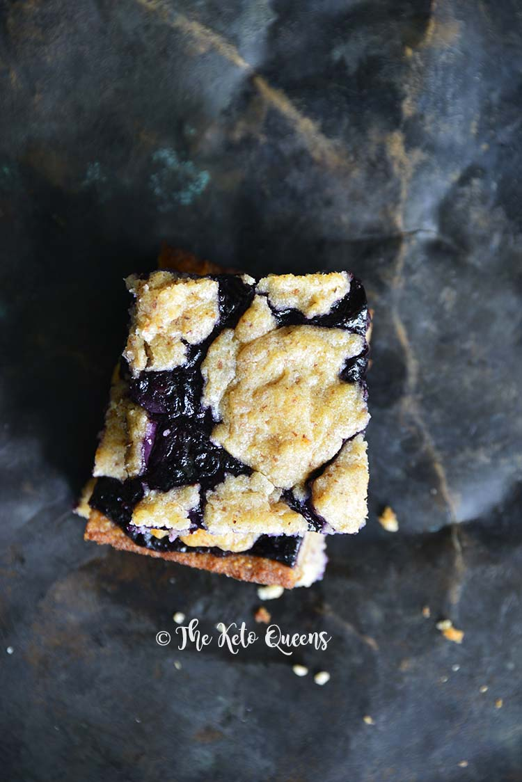 Close Up of Low-Carb Fathead Blueberry Cobbler Bars