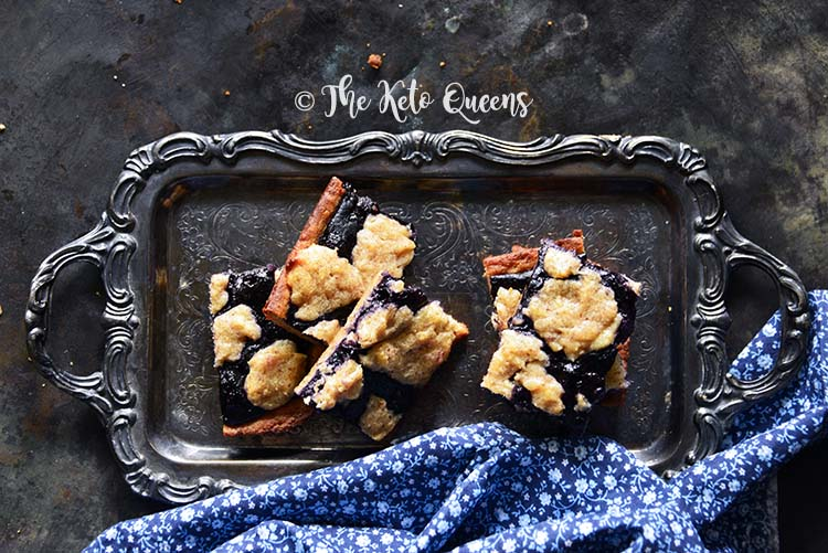 Low-Carb Fathead Blueberry Cobbler Bars on Serving Tray