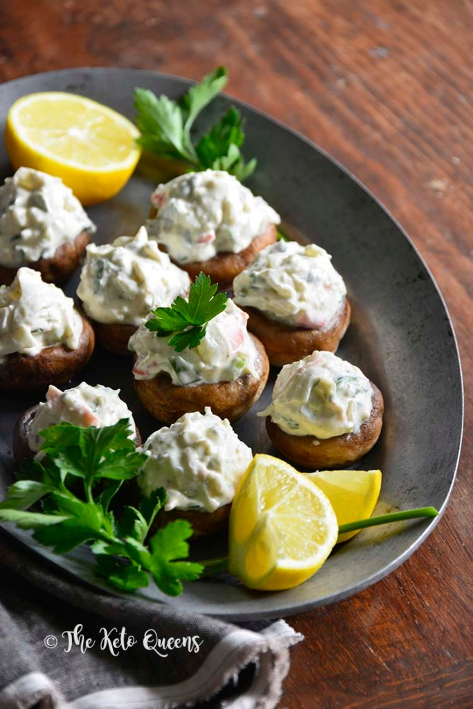 Chilled Old Bay Crab Salad Low Carb Stuffed Mushrooms on Platter